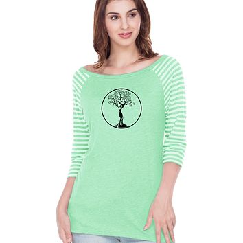 Yoga Clothing For You Black Tree of Life Circle Striped 3/4 Sleeve Yoga Tee