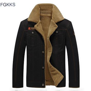 FGKKS 2017 Men Jacket Winter Military Army Bomber Jackets Jaqueta Masculina Coat Mens Denim Jacket for Male Plus Size
