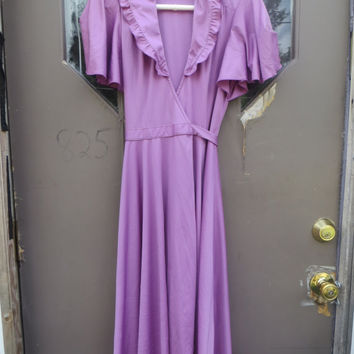 70s Jody  t  California Flirty lilac wrap dress sz 7 butterfly sleeves