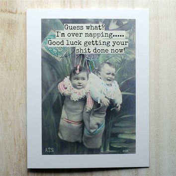 Guess What? I'm Over Napping Funny Vintage Style New Baby Congratulations Card Pregnancy Card Baby Shower Card FREE SHIPPING