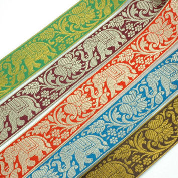 "Elephants & Flowers / Ribbon, Trim, Sari Border from India / 1 6/8"" x 1 yard / Choose your color: Green, Burgundy, Red, Aqua, Brown"