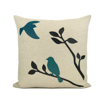 Turquoise throw pillow case - Black and teal birds in nature applique on natural beige canvas - 16x16 decorative pillow cover