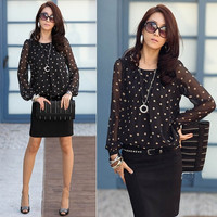 Fashion Women's Loose Polka Dot Chiffon Tops Long Sleeve T-Shirt Casual Blouse F_F = 1904238084