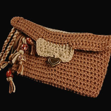 Crochet Wristlet, Leather Interior, Handmade Purse, Clutch