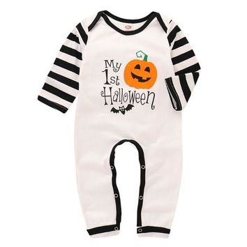 Halloween Baby Clothes Toddler Letters Pumpkin Printed Cartoon Romper Jumpsuit