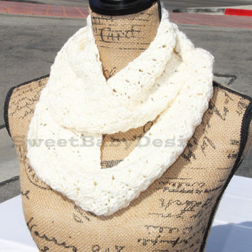 Merino Cashmere Double Loop Infinity Scarf - Ivory Scarf - Crochet Cowl - Cashmere and Wool Scarf