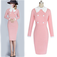 New Womens Elegant 1950s Vintage Pinup Retro Rockabilly Long Sleeve Bow Party Work Sheath Bodycon Wiggle Slim Pencil Dress
