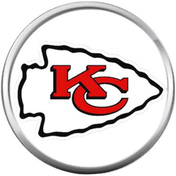 Kansas City Chiefs NFL Logo On White Football Lovers Team Spirit 18MM - 20MM Snap Jewelry Charm
