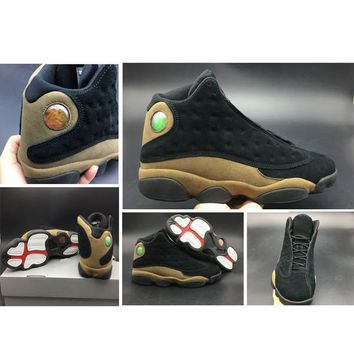 Air Jordan 13 Olive Men Basketball Shoes 13S Top Quality Black True Red Light Olive Real Carbon Fibre Classic Trainner Sneakers Size8-13 With Box