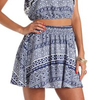 High-Waisted Tribal Print Skater Skirt by Charlotte Russe - Navy