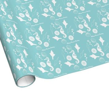 Funky seahorse and seashell pattern custom aqua blue girly gift-wrap paper rolls: Personalize this cute wrapping paper with your special wor