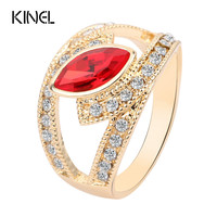 Hot 2017 Top Fashion Red Crystal Ring Gold Color Punk Rock Crystal Rings For Women Love Gift Kinel Vintage Jewelry