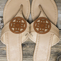 Chasing The Sun Beige Emblem Leather Thong Sandals