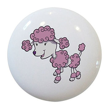 Carolina Hardware and Decor 1626 Pink & White Poodle Ceramic Cabinet Drawer Knob