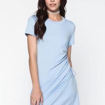 jersey drawstring ruched dress