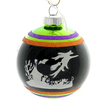 Shiny Brite HALLOWEEN SIGNATURE FLOCKED.. Glass Ornament Ball 4026976S D