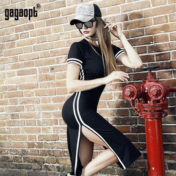 Gagaopt Spring/ Dress Women Casual Street Side Split Print Striped Dress Vintage Vestidos Open Back Sexy Club Robes