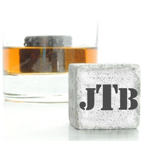 Custom Monogrammed Whiskey Stones, Set of 3