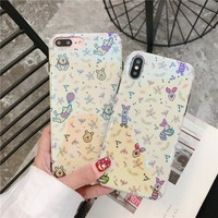 lovely Cartoon Winnie Pooh Strawberry bear Case for iPhone 7 8 6 6s plus X Xs Max Xr fashion Blu-ray Soft IMD Silicon cover capa