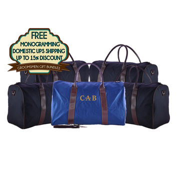 SAVE 10% - Personalized Groomsmens Gifts Duffel Bag Bundles Sold In Sets Of 4, 5,and 6 Free Shipping and Free Monogramming