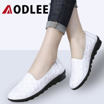AODLEE Summer Women Ballet Flats Genuine Leather Loafers Shoes Print Slip On Flat Heel Shoes Ladies Casual Shoes Flats Women