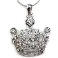 White Princess Crown Tiara Pendant Necklace Clear Rhinestones Fashion Jewelry
