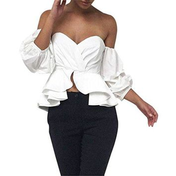 ☞ TOOPOOT ☞ Women's Sexy Strapless Crop Puff Sleeve Ruffled Tops Blouse