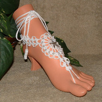 Crochet Starfish Beach Wedding Barefoot Sandals, Wedding Bridal Shoes, Anklet, Foot Jewelry, Footless, Beach Jewelry