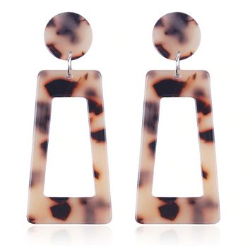 Geometric Dangle Earrings in Tortoise or Pink Marble (2 Color Options)