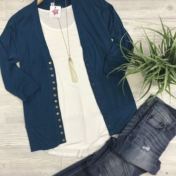 Oh Snap Cardigan in Teal