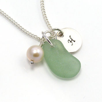 Personalized Deep Lime Green Sea Glass Necklace 902