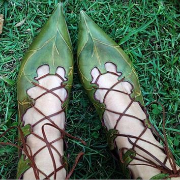 Fashion women's individual leaf dress with nailed shoes