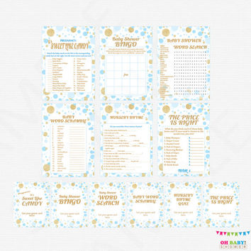Blue and Gold Baby Shower Games pack, games bundle, boy baby shower game pack, printable baby shower games sign, INSTANT DOWNLOAD, CB0003-bg
