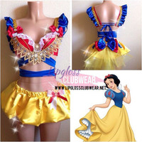 Snow White Inspire Outfit, Top & Bottom Rave Costume Outfit For EDC, Ultra Music, EDM Festivals, Tomorrowland, halloween, PLUR