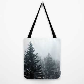 Market Bag, Tote Bag, Pines, Shoulder Bag,Fine Art Photography, Winter Bag, Black,White,Snow,Trees,Nature,Modern Bag,Christmas,Holiday Bag
