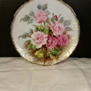 Hand Painted Rose Floral Plate edged in Gold wire hanger Shabby Chic Plate Artist Signed T. Shibata Scalloped Edge Ornate Decorative Plate