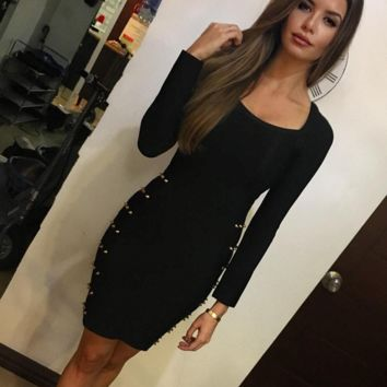 Oh My Love Black Long Sleeve Bandage Dress