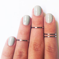 Silver Midi Rings (Set of 2)