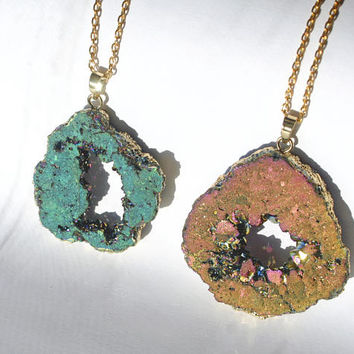 Gold Dipped Rainbow Agate Geode Slice Necklace