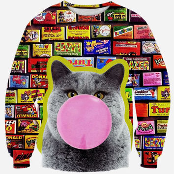 Bubble Gum Cat Crew Neck Sweatshirt Men & Women Flowers Floral Harajuku Style All Over Print Blue Sweater