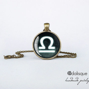 Libra sign pendant European Zodiac necklace air sign gift jewelry bronze for him for her jewellery key ring