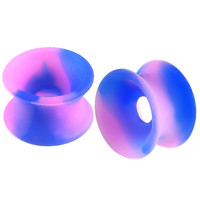 Smoked Double-Flared Tunnel [Gauge: 1/2 inch - 12mm] Flexible Silicone (Dark Blue & Purple) // Set of 2