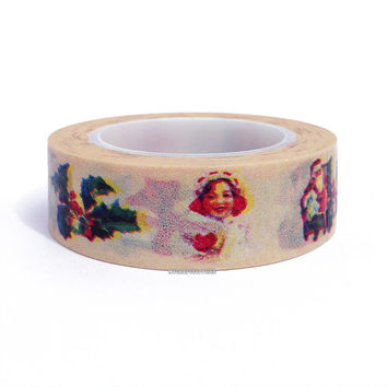 Old Fashioned Christmas Seals Print Washi Paper Tape, 15mm x 10 yards: Love My Tapes