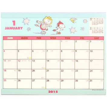 2015 Peanuts Snoopy Desk Calendar Plan Simple-Type Pink Sanrio Japan H6030