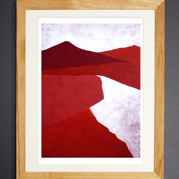 Dunes - Fine Art  Giclée Print - Red Abstract Landscape Painting - Wall Art