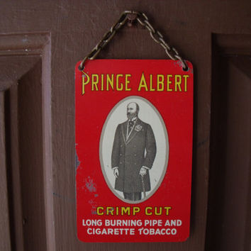 Vintage Small PRINCE ALBERT Painted Tin Counter Sign With Chain Hanger 1950s