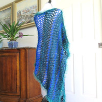 Long crochet poncho, blue asymmetrical color block poncho, outerwear