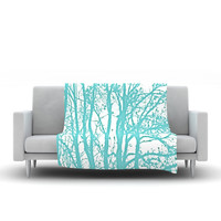 "Monika Strigel ""Mint Trees"" Fleece Throw Blanket"