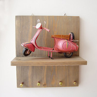 Pink Vespa key organiser, wooden board with vespa scooter and key holders, office and home key organiser, pink Vespa diorama