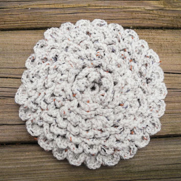 Crochet Pot Holders - Crochet Trivet - Natural Tweed Oatmeal Crochet Potholder - Kitchen Hot Pad - House Warming Gift
